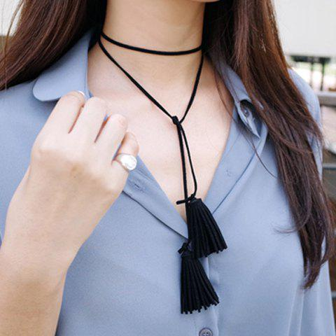 Stylish Solid Color Cloth Tassel Necklace For Women - BLACK