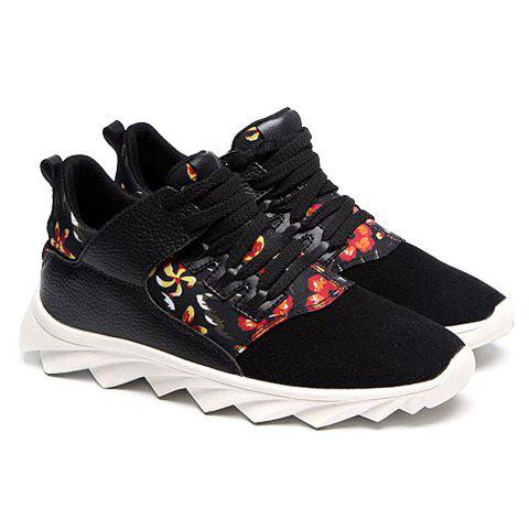 Personalized Lace-Up and Floral Print Design Sneakers For Men - BLACK 42
