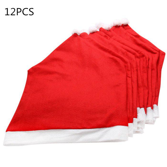 12PCS Santa Claus Hat Chair Back Cover for Christmas Dinner Decoration Cap Set - RED 12PCS