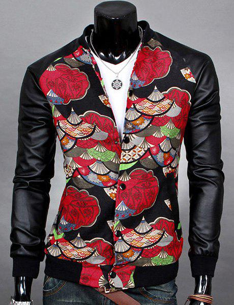 3D Ethnic Fan Print Stand Collar PU-Leather Splicing Jacket - RED XL