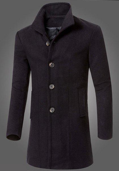 Turn-Down Collar Slimming Single-Breasted Long Sleeve Lengthen Woolen Men's Coat
