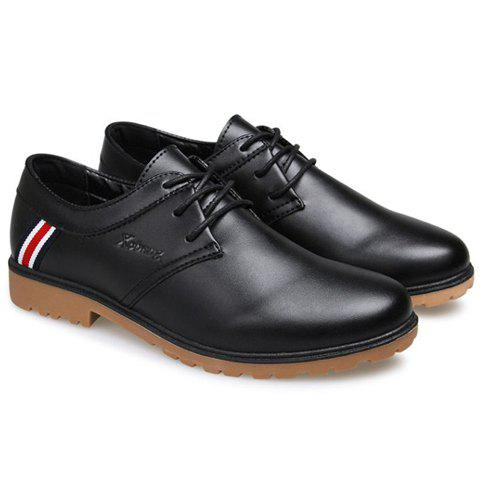 Concise PU Leather and Lace-Up Design Casual Shoes For Men - BLACK 41