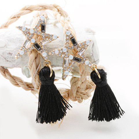 Pair of Chic Rhinestoned Tassel Star Shape Hollow Out Earrings For Women - BLACK