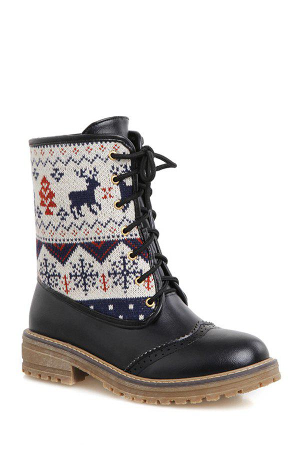 Retro Engraving and Knitting Design Women's Short Boots - 37 BLACK