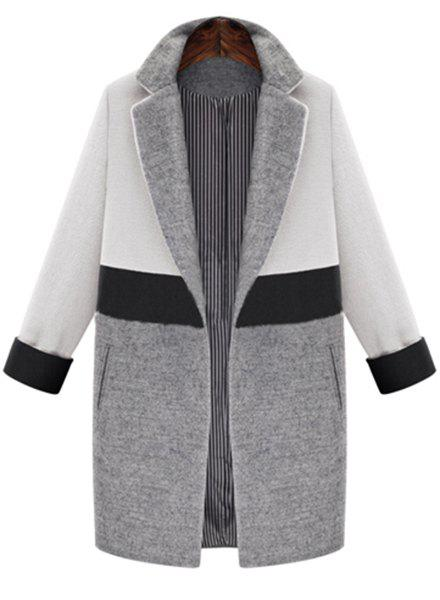 Elegant Women's Lapel Long Sleeve Color Spliced Coat - WHITE L