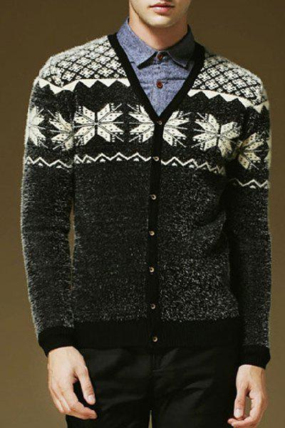 Hit Color Snowflake Argyle Jacquard V-Neck Long Sleeves Men's Thicken Mohair Cardigan - BLACK XL