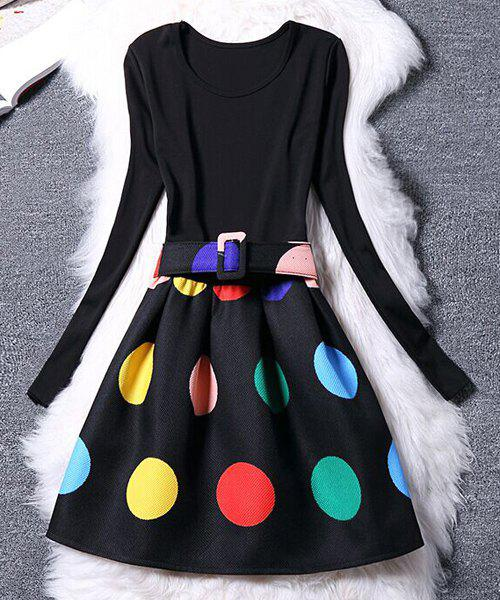 Long Sleeve Scoop Neck Colorful Dress For Women