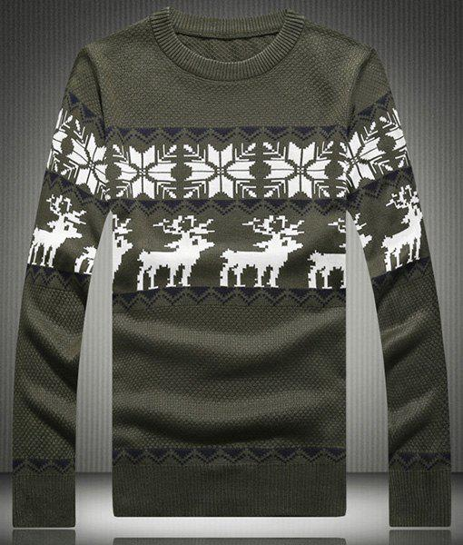Christmas Snowflake Deer Jacquard Hit Color Round Neck Long Sleeves Men's Thin Sweater - ARMY GREEN XL