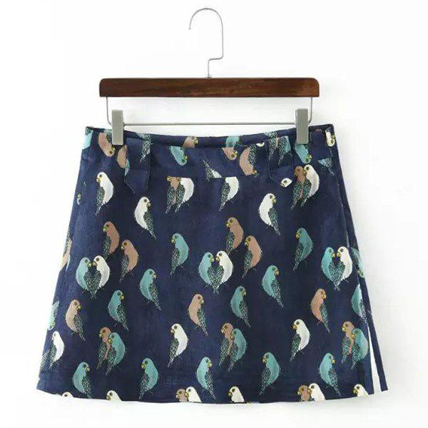 Fashionable Thick Bird Printed Mini Skirt For Women - DEEP BLUE M