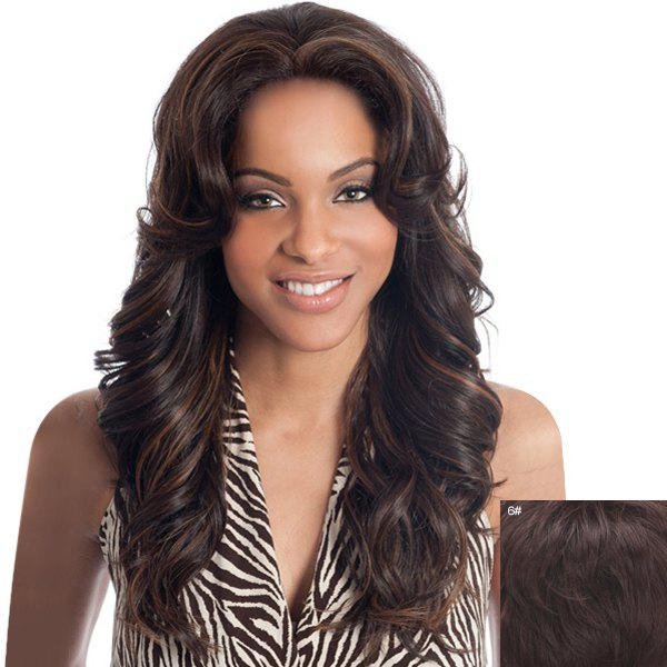 Trendy Long Lace Front Assorted Color Towheaded Curly Real Natural Hair Wig For Women - BLACK BROWN MIXED