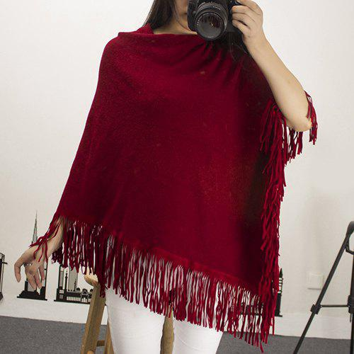 Chic 3/4 Sleeve Asymmetrical Pure Color Women's Knitwear - WINE RED ONE SIZE(FIT SIZE XS TO M)