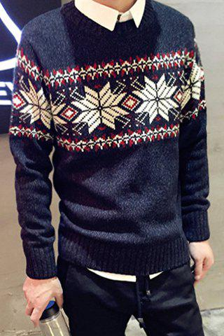Hot Sale Round Neck Christmas Snowflake Jacquard Hit Color Men's Long Sleeves Sweater - BLUE S