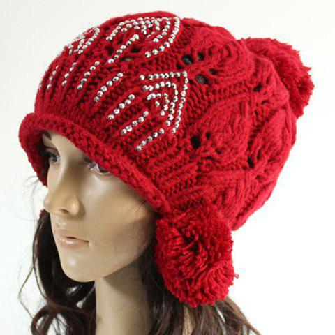 Chic Rhinestone and Woolen Yarn Ball Embellished Hollow Out Knitted Beanie For Women - RANDOM COLOR