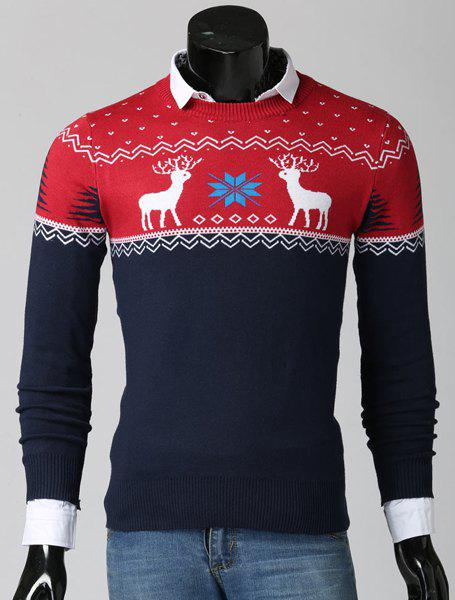 Color Spliced Christmas Snowflake Deer Jacquard Round Neck Long Sleeves Men's Thicken Sweater - RED 2XL