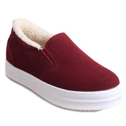 Trendy Elastic and Suede Design Platform Shoes For Women - WINE RED 35
