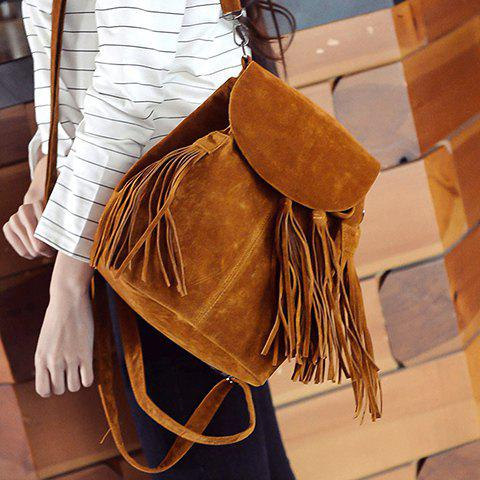 Stylish Suede and Tassels Design Satchel For Women - BROWN