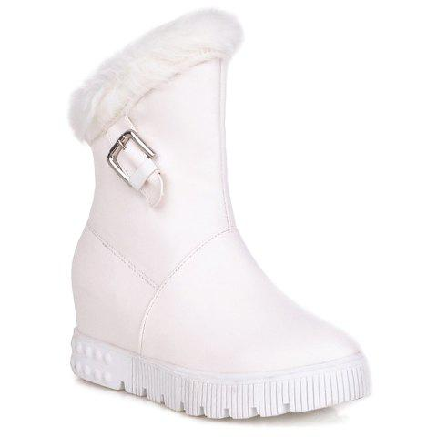 Elegant Slip-On and PU Leather Design Snow Boots For Women - 38 WHITE