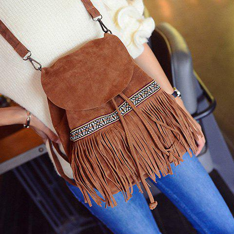 National Style Fringe and Cover Design Women's Satchel