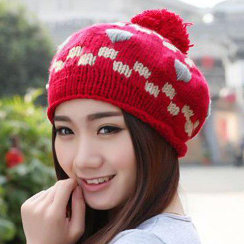 Chic Woolen Yarn Ball Embellished Heart and Latticed Pattern Knitted Beanie For Women