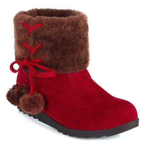 Laconic Pure Color and Lace-Up Design Women's Snow Boots - RED 34