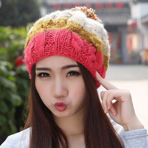 Chic Woolen Yarn Ball Embellished Multicolor Knitted Beanie For Women - RANDOM COLOR