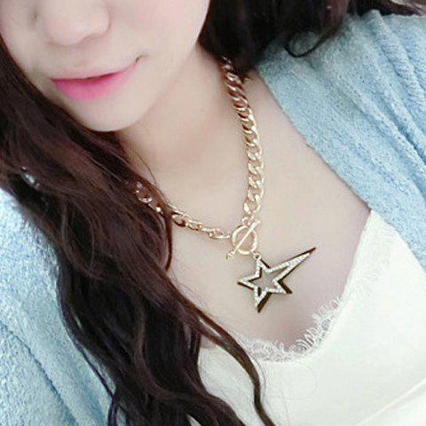 Stunning Rhinestone Hollow Out Star Shape Necklace For Women - GOLDEN