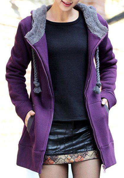 Casual Style Long Sleeve Hooded Loose-Fitting Women's Zip Up ...