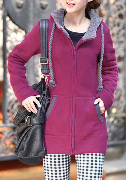 Casual Style Long Sleeve Hooded Loose-Fitting Women's Zip Up Hoodie - ROSE XL