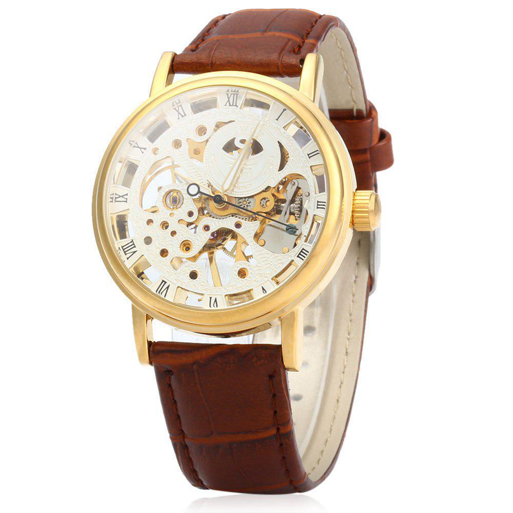 SEWOR Men Hollow Mechanical Watch with Leather Band Roman Scale - BROWN GOLDEN WHITE