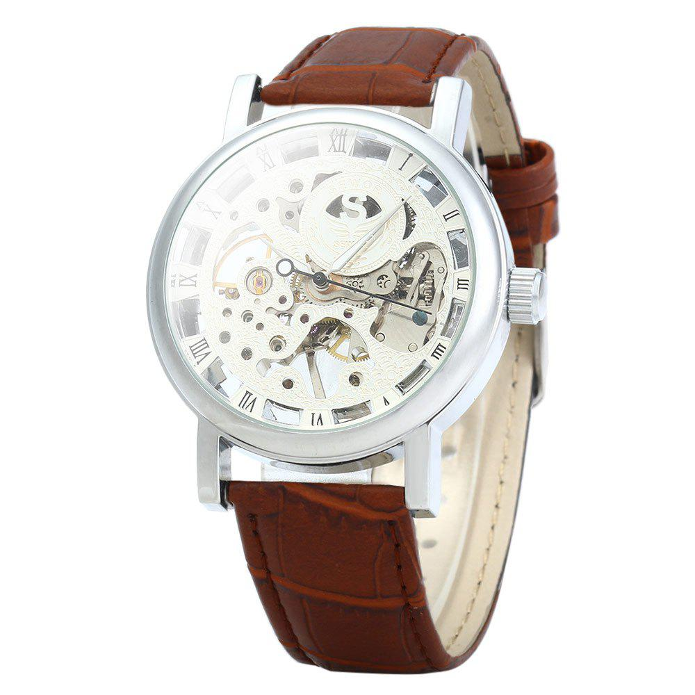SEWOR Men Hollow Mechanical Watch with Leather Band Roman Scale - BROWN SILVER WHITE