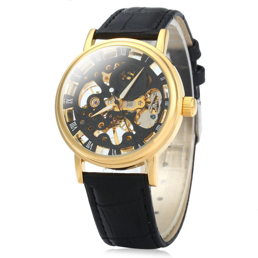 SEWOR Men Hollow Mechanical Watch with Leather Band Roman Scale - BLACK GOLDEN BLACK