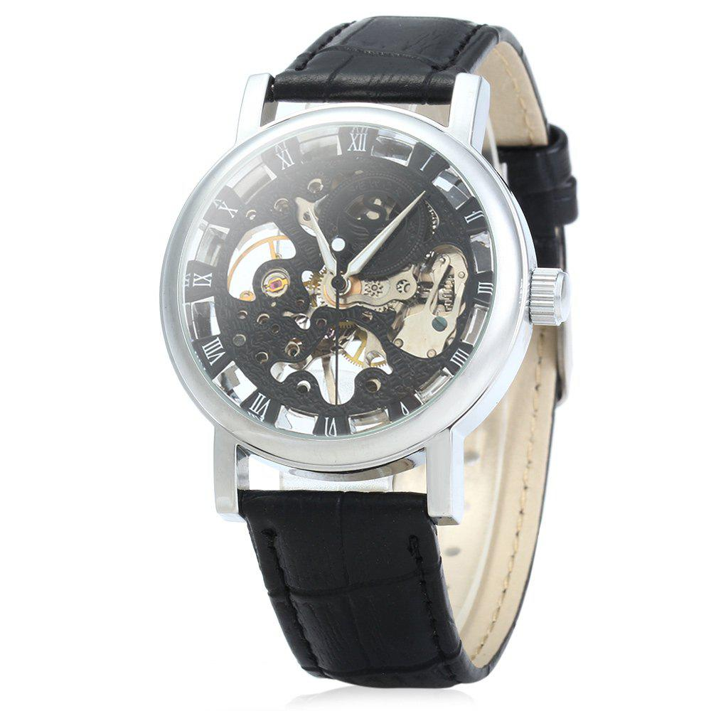 SEWOR Men Hollow Mechanical Watch with Leather Band Roman Scale - BLACK SILVER BLACK