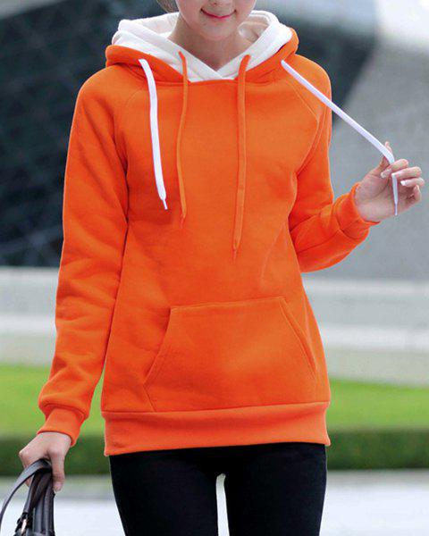 Preppy Style Long Sleeve Hooded Front Pocket Design Women's Pullover Hoodie - ORANGE L