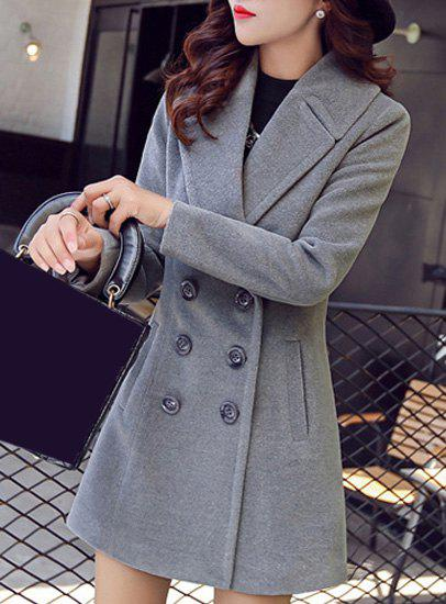 Stylish Turn-Down Collar Long Sleeve Pocket Design Double Breasted Women's Coat