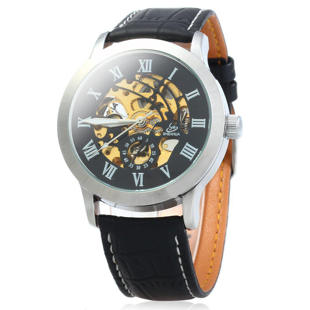 SHENHUA 9269 Men Hollow Automatic Mechanical Watch with Leather Band Roman Scale - BLACK SILVER BLACK