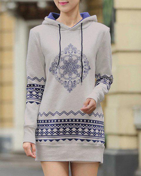 Casual Style Long Sleeve Hooded Ethnic Print Women's Pullover Hoodie - LIGHT GRAY M