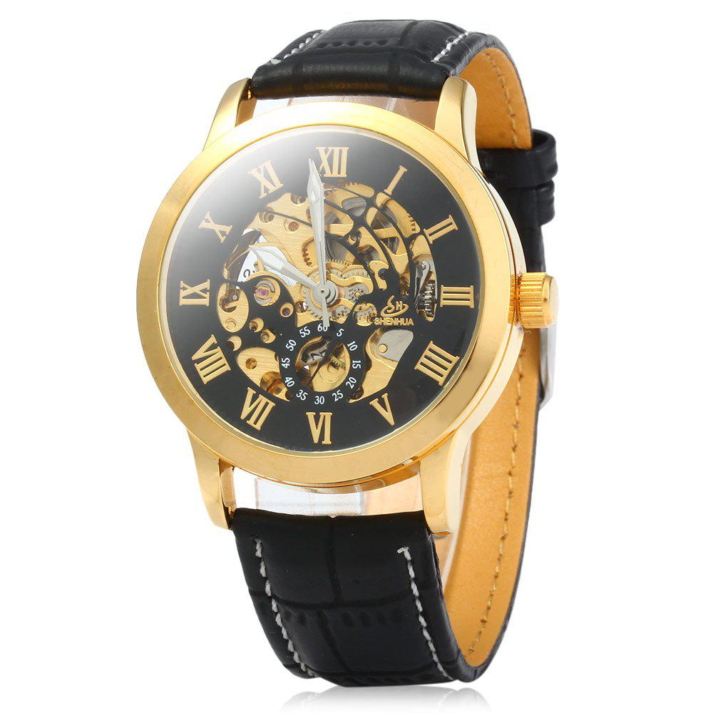 SHENHUA 9269 Men Hollow Automatic Mechanical Watch with Leather Band Roman Scale - BLACK GOLDEN BLACK