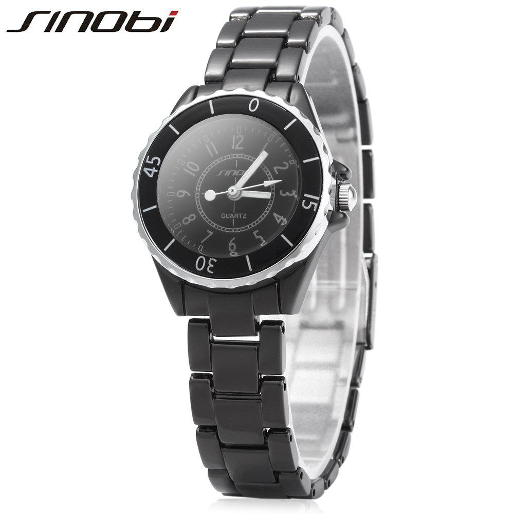 SINOBI 1850 Female Analog Ceramic Band Quartz Watch - BLACK
