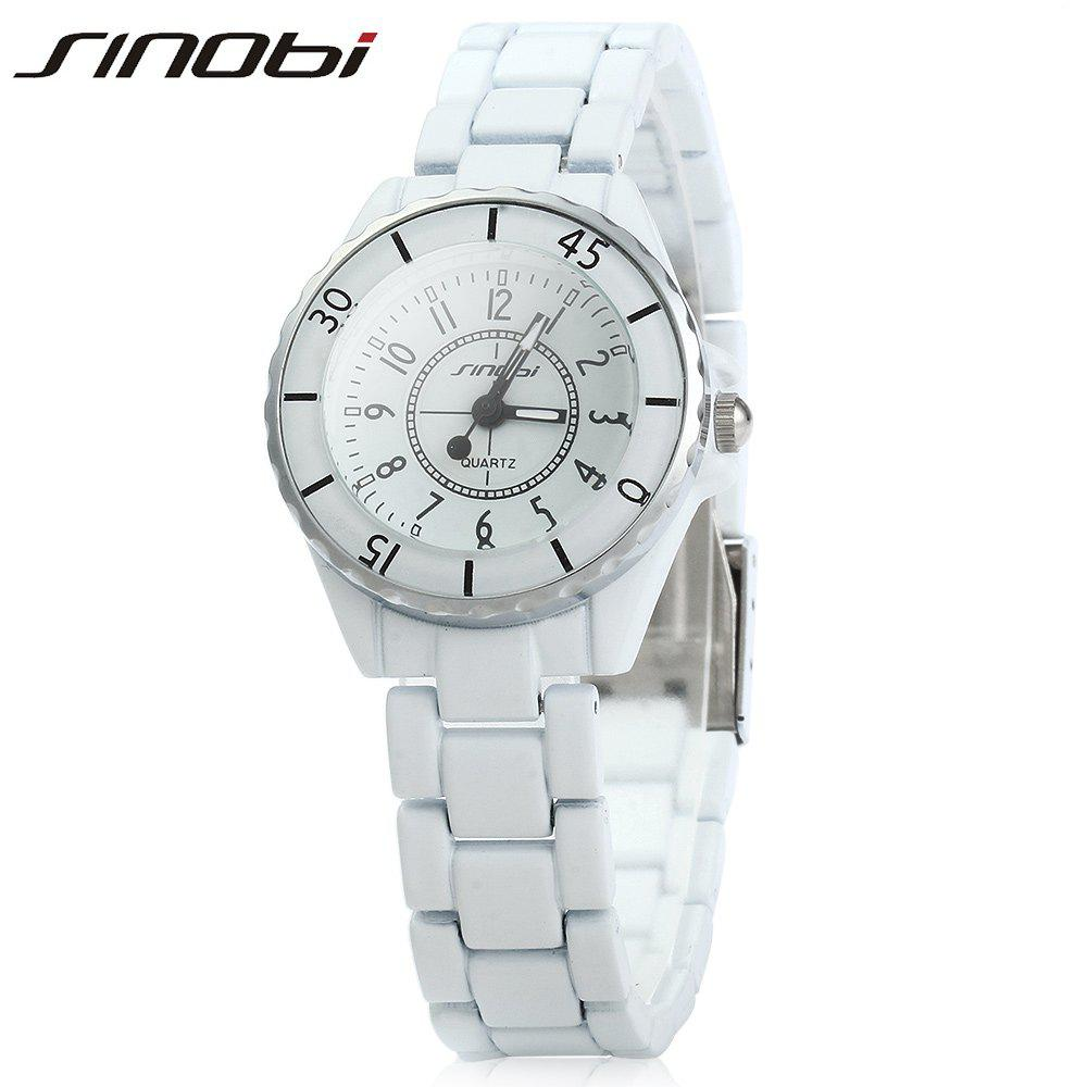 SINOBI 1850 Female Analog Ceramic Band Quartz Watch - WHITE
