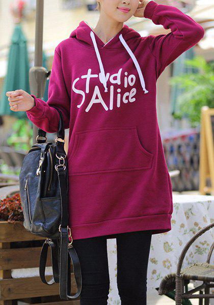 Sweet Long Sleeve Hooded White Letter Pattern Women's Pullover Hoodie - PURPLISH RED 4XL