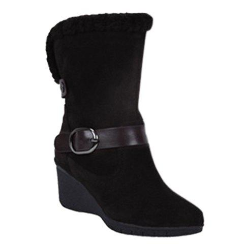 Fashion Buckle Strap and Wedge Design Women's Snow Boots - BLACK 39