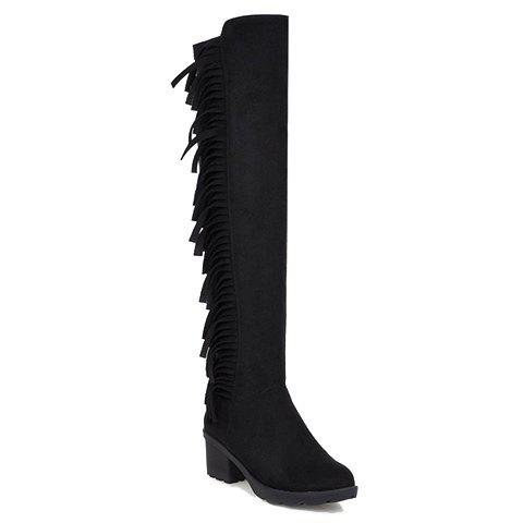 Gorgeous Zipper and Fringe Design Women's Knee-High Boots - 39 BLACK