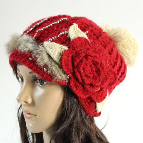 Chic Rhinestone Faux Fur Big Flower Embellished Knitted Beanie For Women - RED