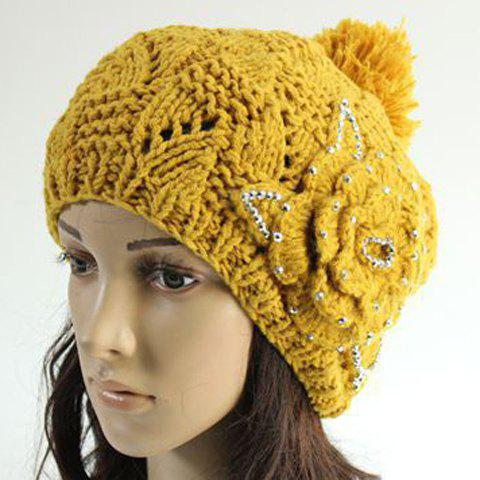 Chic Big Flower and Rhinestone Embellished Knitted Beanie For Women - YELLOW