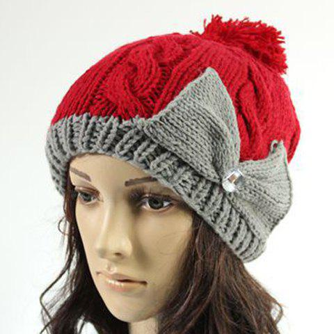 Chic Rhinestone and Big Bow Embellished Mixed Color Knitted Beanie For Women - RED
