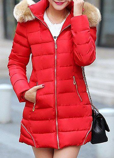 Chic Long Sleeve Fur Hooded Zip Up Slimming Pocket Design Women's Padded Coat - RED XL