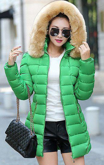 Chic Long Sleeve Fur Hooded Zip Up Slimming Pocket Design Women's Padded Coat - GREEN M