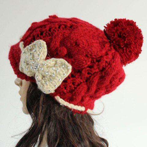 Chic Rhinestone and Bow Lace-Up Embellished Women's Knitted Beanie - RED