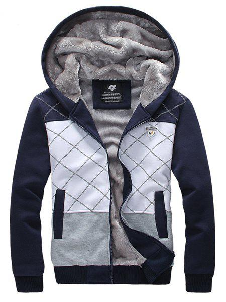 Hooded Argyle Print Color Block Splicing Badge Long Sleeve Sherpa Men's Hoodie - CADETBLUE XL