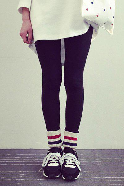 Stylish Rainbow Color Striped Hem Fleeced Bodycon Leggings For Women - BLACK ONE SIZE(FIT SIZE XS TO M)